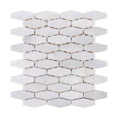 Nimbus White 10.25 in. x 11.5 in. x 10mm Tumbled Marble Mosaic Floor and Wall Tile