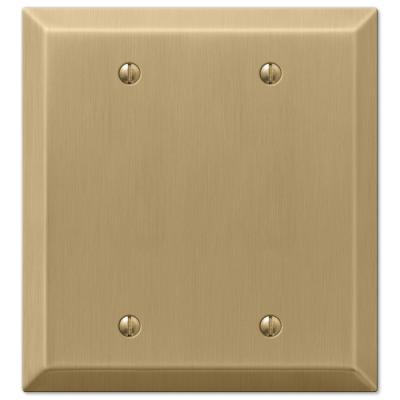 Metallic 2 Gang Blank Steel Wall Plate - Brushed Bronze