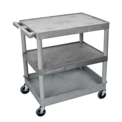 32 in. W x 24 in. D x 37.5 in. H with 2-Flat and 1-Tub Shelf Large Utility Cart in Gray