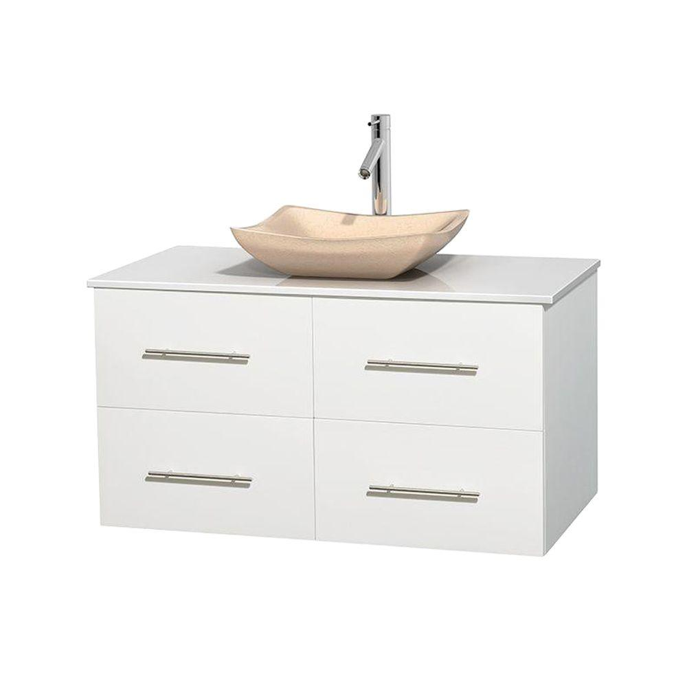 Wyndham Collection Centra 42 in. Vanity in White with Solid-Surface Vanity Top in White and Sink