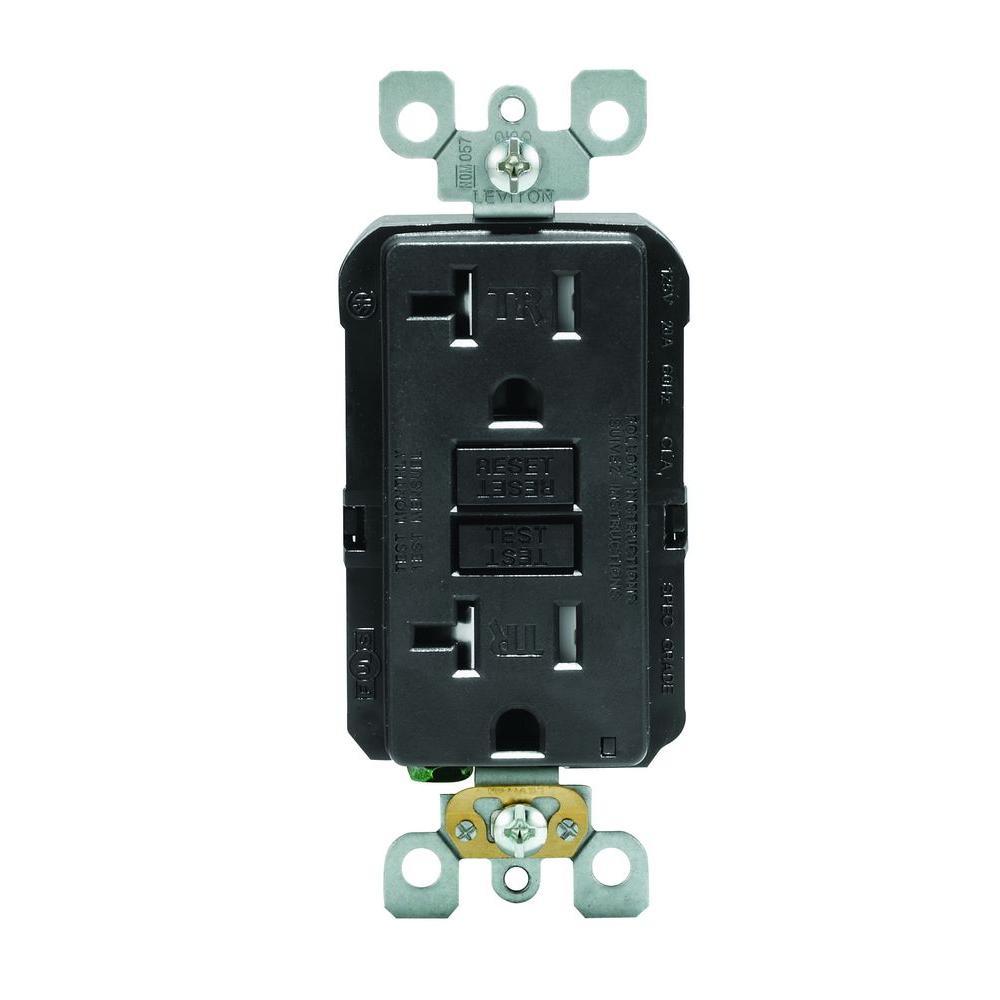 SmartLockPro 20 Amp Slim Tamper Resistant GFCI Duplex Outlet, Black