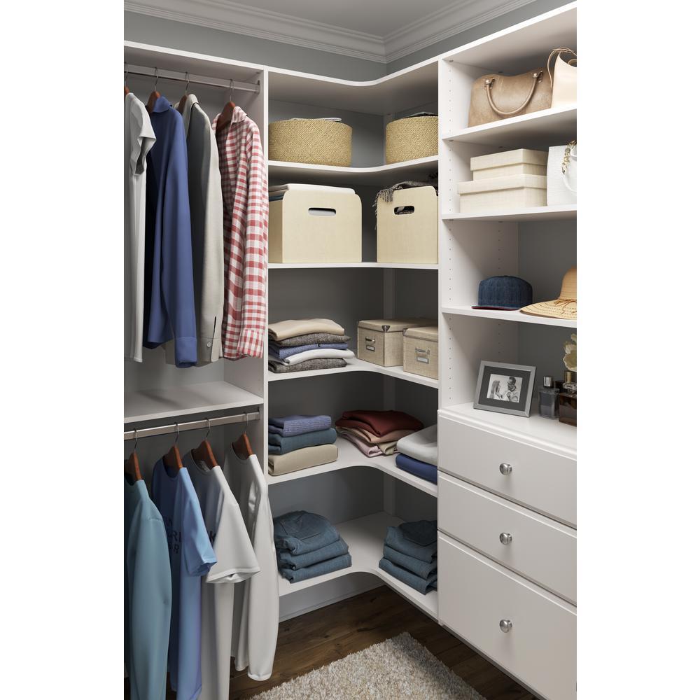 30.5 in. D x 30.5 in. W x 72 in. H Classic White Wood Corner Closet Kit