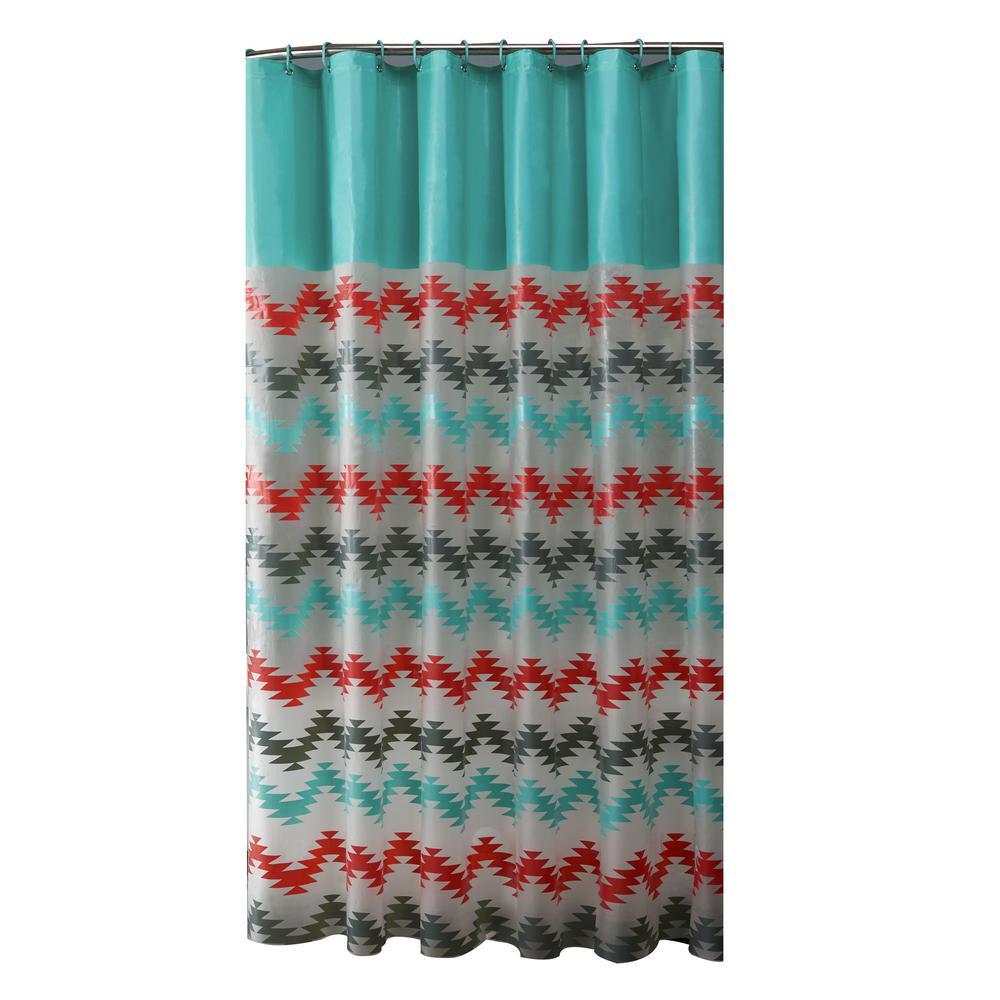 PEVA 70 in. x 72 in.  Coral and Aqua Chevron Design Shower Curtain