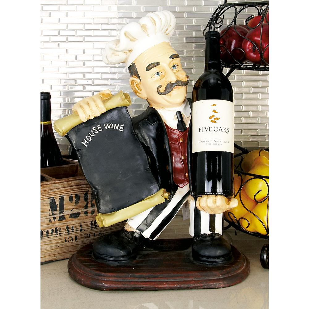 Litton Lane 13 In W X 20 In H Polystone Chef Wine Holder 49704