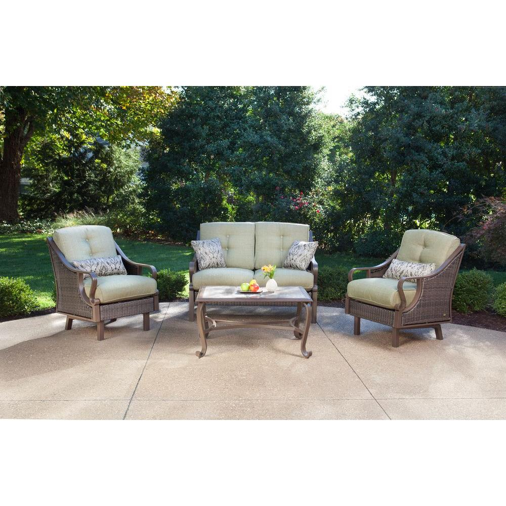 Captivating Hanover Ventura 4 Piece Patio Conversation Set With Vintage Meadow Cushions