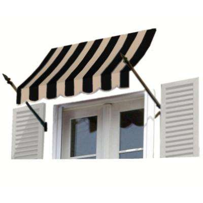 3 ft. New Orleans Awning (31 in. H x 16 in. D) in Black/Tan Stripe