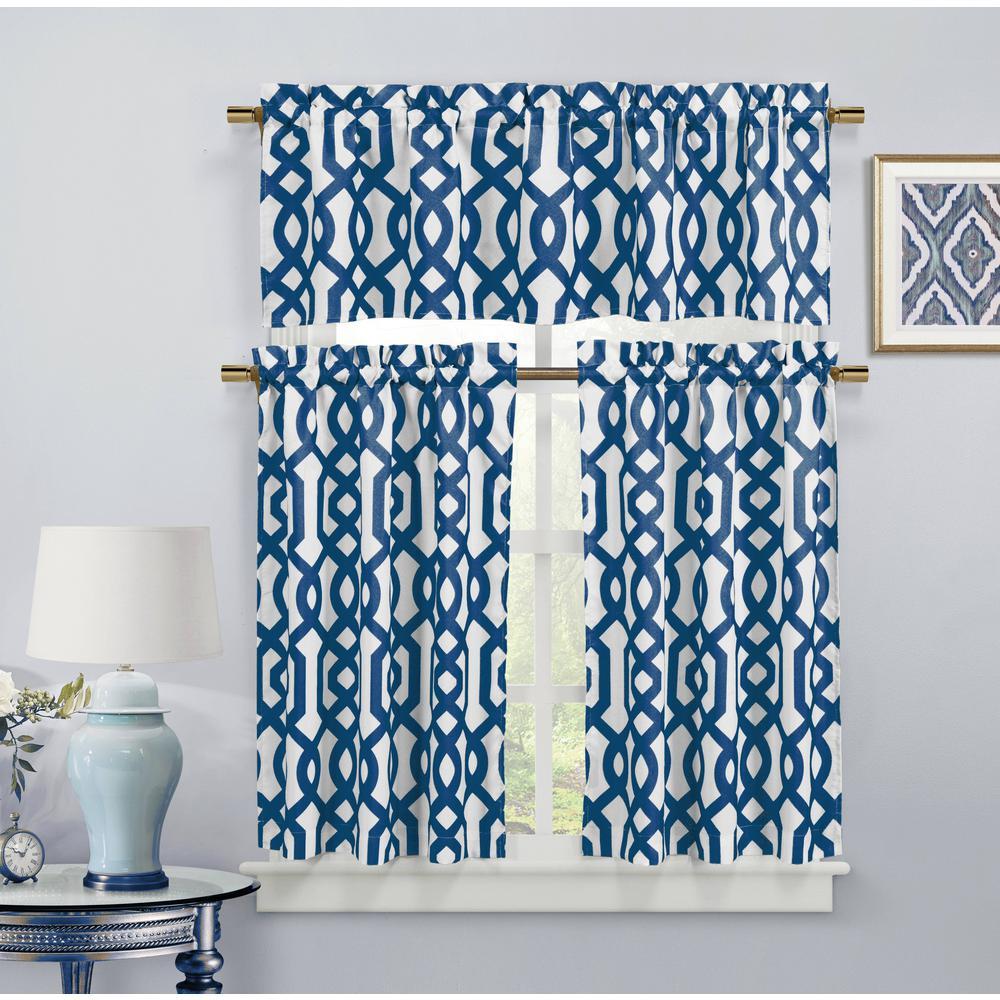Ashmont Canvas Royal Blue Room Darkening Kitchen Curtain - 58 in. W x 15 in. L (2-Piece)