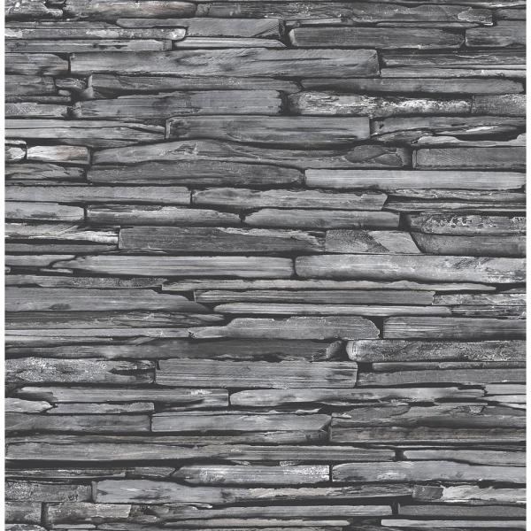 McGuire Grey Stacked Slate Paper Strippable Roll (Covers 56.4 sq. ft.)