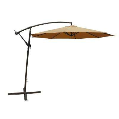 10 ft. Steel Cantilever Patio Umbrella in Tan