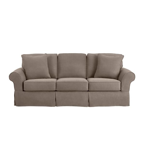 Hillbrook Essence Gray Straight Slipcovered Sofa (87.5 in. W x 36.5 in. H)