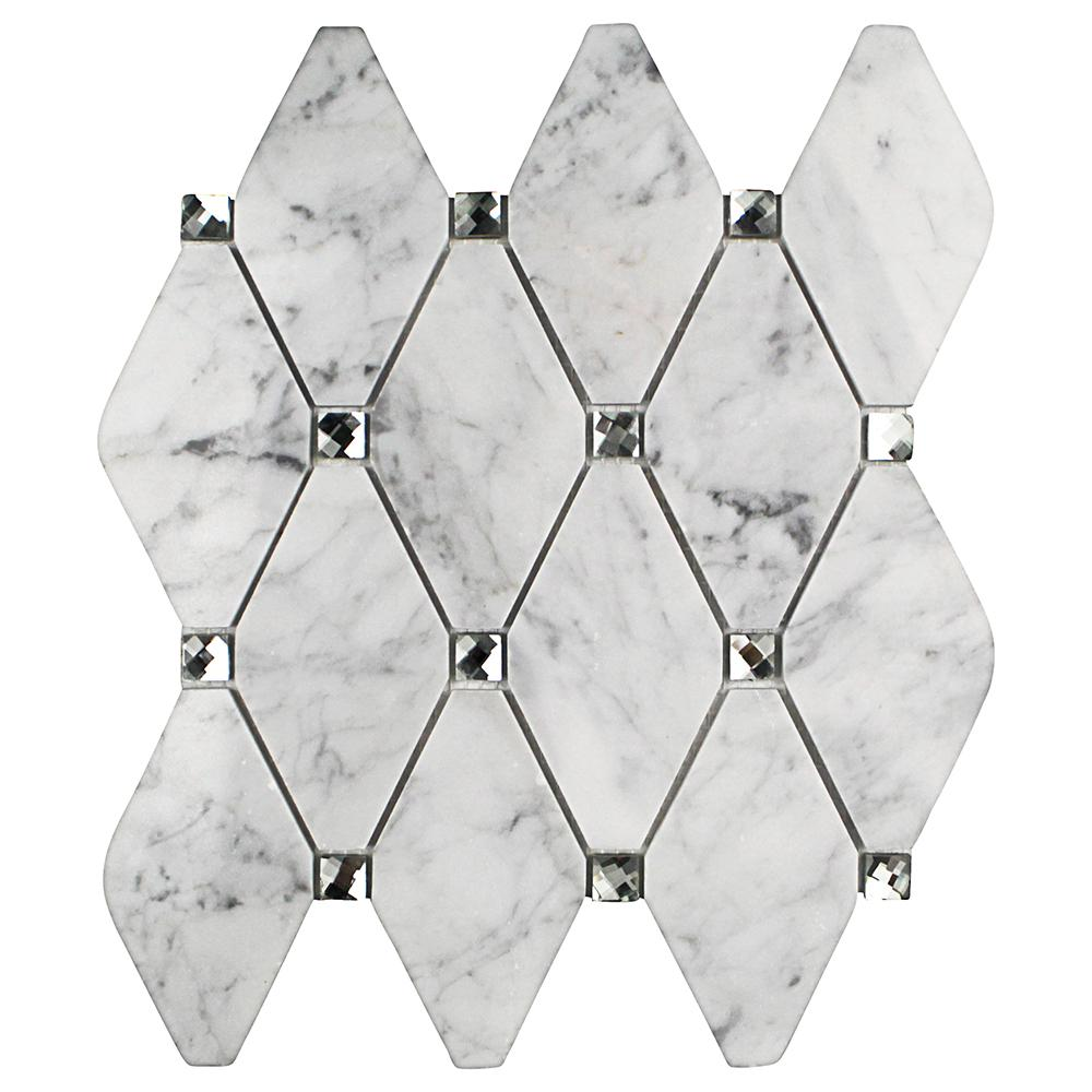 Mirage Lozenge Carrara Marble and Glass Wall Mosaic Tile - 3