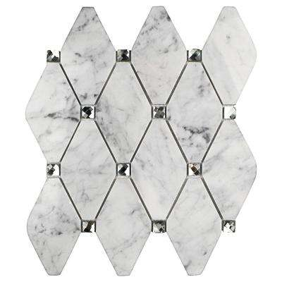 Mirage Lozenge Carrara Marble and Glass Wall Mosaic Tile - 3 in. x 6 in. Tile Sample