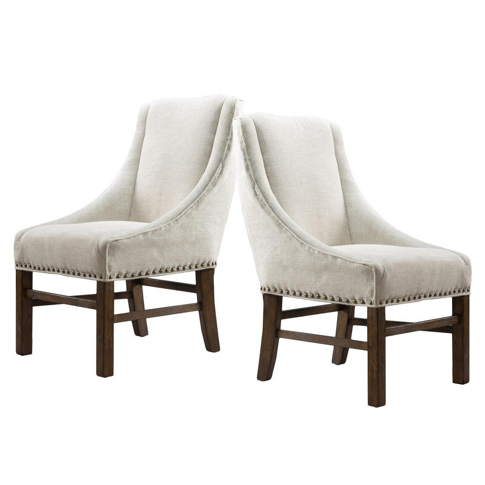Le House James Natural Fabric Studded Dining Chair Set Of 2