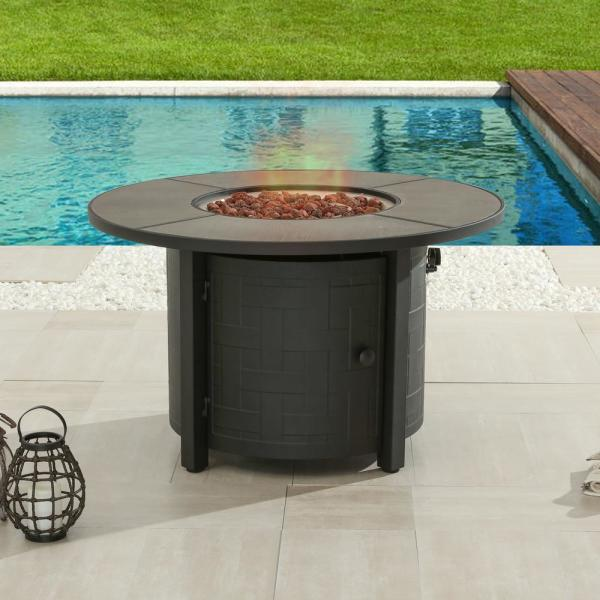 Round Patio Table With Gas Fire Pit - Patio Furniture