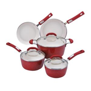 Hamilton Beach 8-Piece Speckled Red Cookware Set with Lids by Hamilton Beach