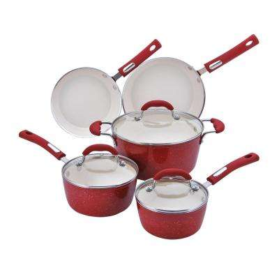 8-Piece Speckled Red Cookware Set with Lids