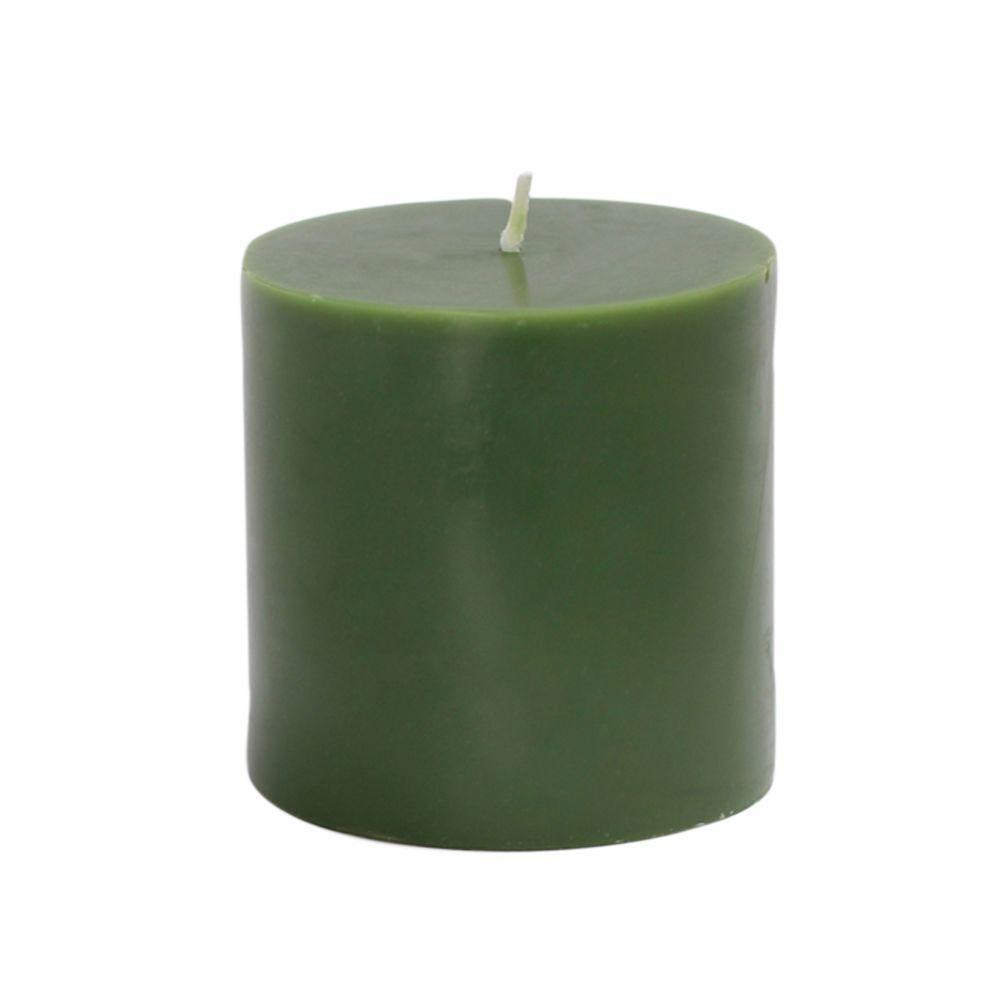 3 in. x 3 in. Hunter Green Pillar Candles Bulk (12-Case)