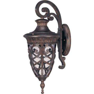 1-Light Outdoor Dark Plum Bronze Incandescent Sconce Light