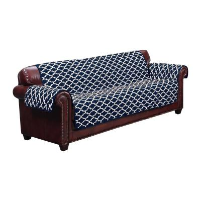 Coby Water Resistant Navy Fit Polyester Fit Sofa Slip Cover