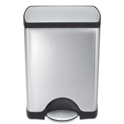 30-Liter Fingerprint-Proof Brushed Stainless Steel Rectangular Step-On Trash Can