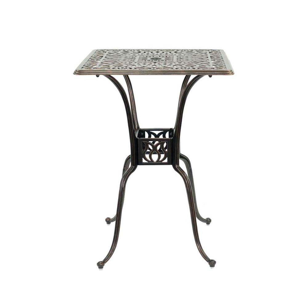 Square Cast Aluminum Outdoor High Top Table In Bronze