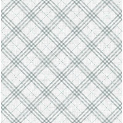 Kids Gray and Ocean Blue Diagonal Plaid Wallpaper