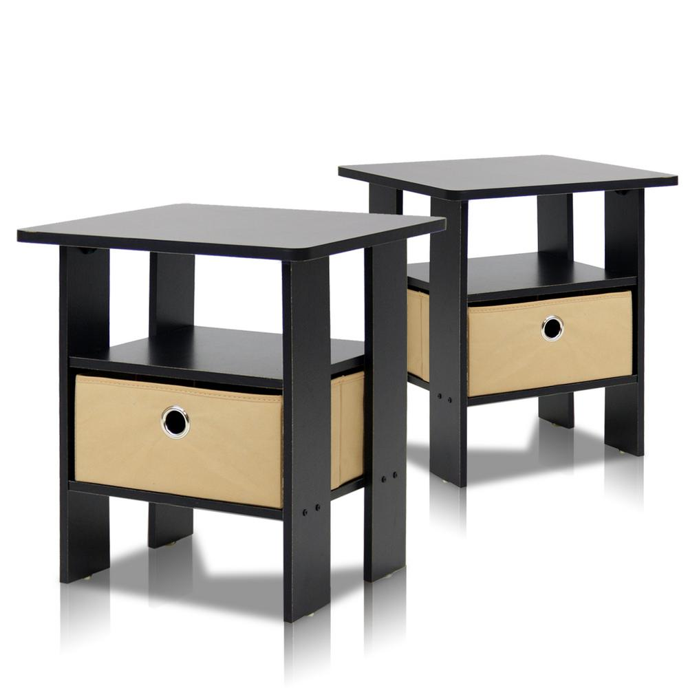 Home Living Espresso Storage End Table (Set of 2)