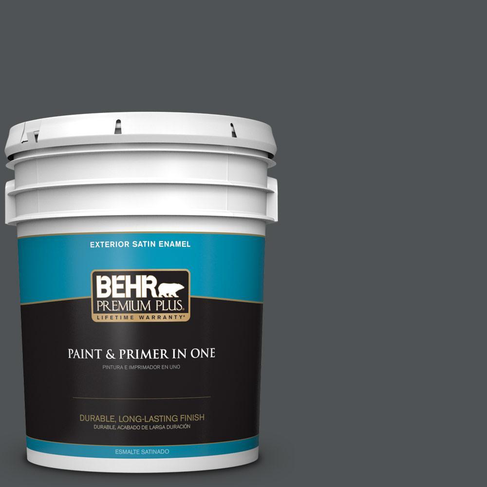 5 gal. #PPU25-01 Carbon Copy Satin Enamel Exterior Paint