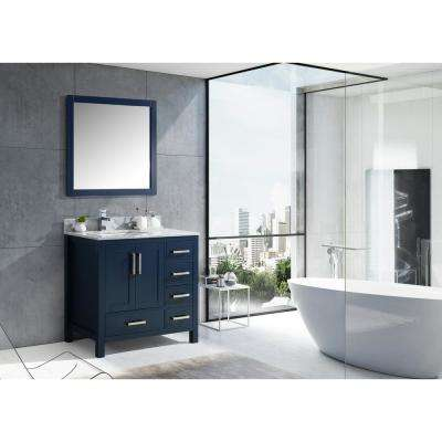 Jacques 36 in. Navy Blue Single Vanity Top White Carrera Marble White Square Sink and 34 in. Mirror Right