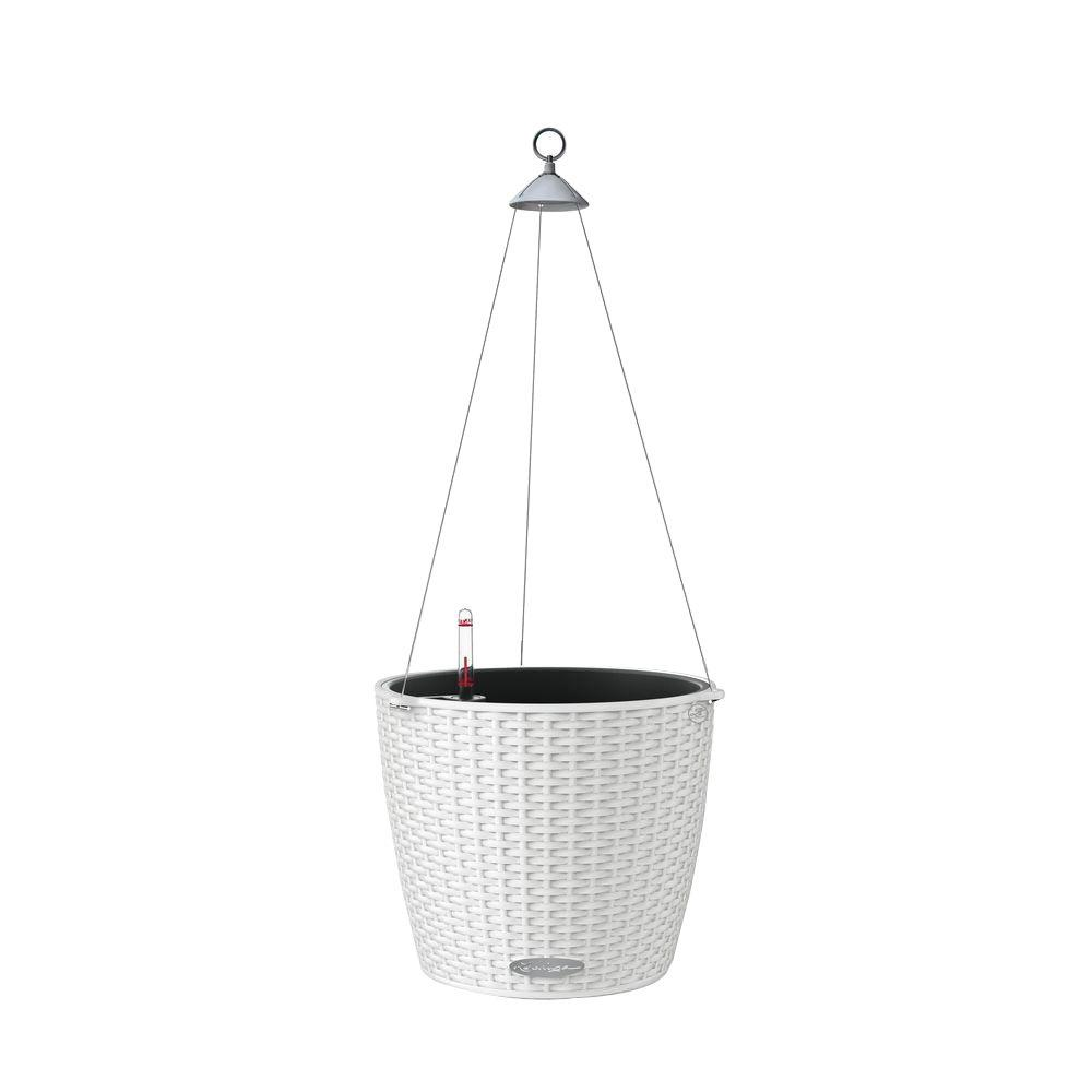 Plastic Hanging Baskets For Plants: Lechuza Trend Nido Cottage Hanging Basket 9 In. Dia. White
