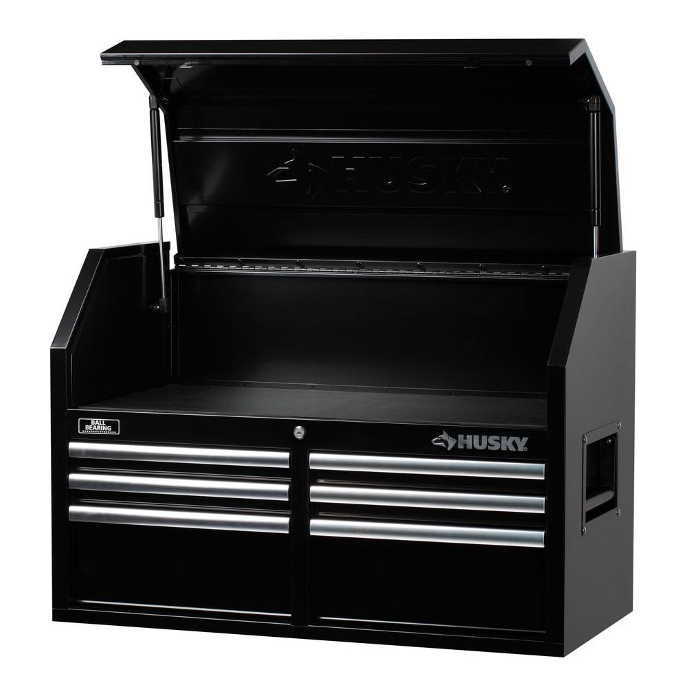 husky 36 in 6 drawer tool chest black rust resistant