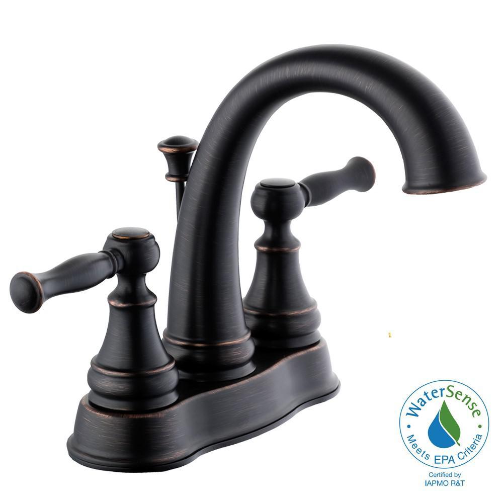 Fairway 4 in. Centerset 2-Handle High-Arc Bathroom Faucet in Bronze