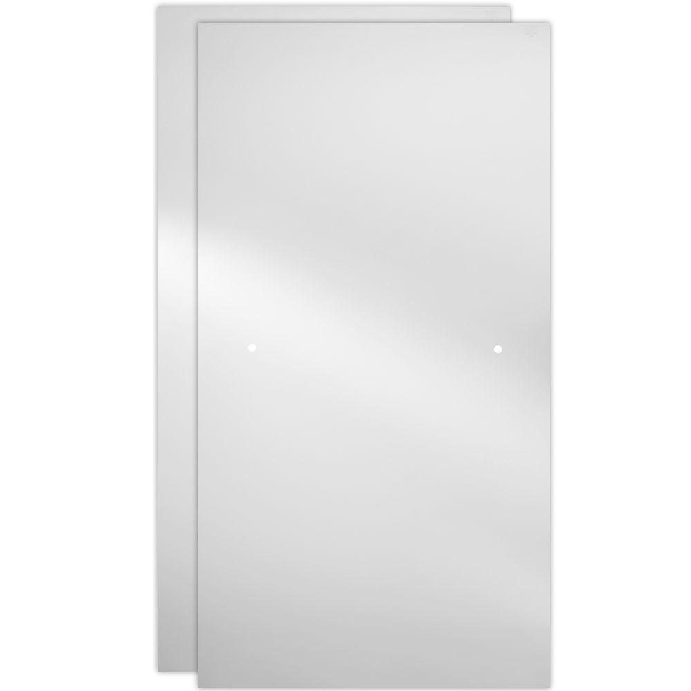 Clear Glass Panels On White Surface: Delta 60 In. Sliding Shower Door Glass Panels In Clear (1