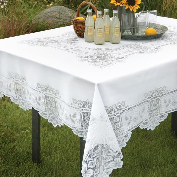 Heritage Lace Heirloom Rectangle White Polyester Tablecloth HL-70108RW
