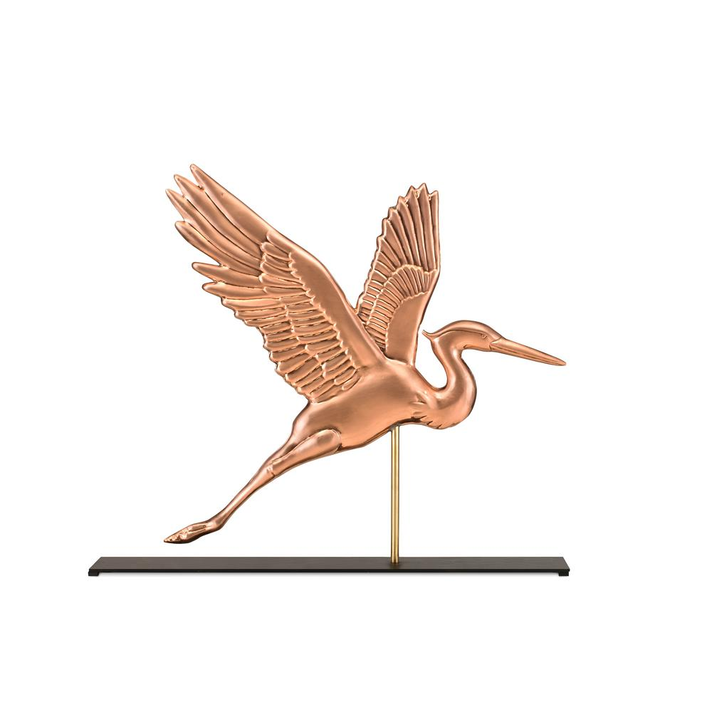 Graceful Blue Heron Pure Copper Weathervane Sculpture On Mantel Stand