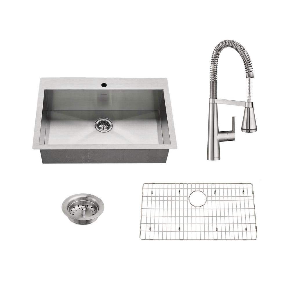 American standard edgewater all in one undermount stainless steel 33 in single bowl kitchen - American standard kitchen sink ...