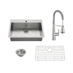 American Standard Edgewater All-in-One Undermount Stainless Steel 33 inch Single Bowl Kitchen Sink with Faucet in... by American Standard