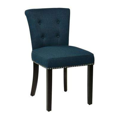 Kendal Chair in Klein Azure Fabric with Silver Nailheads and Ring and Dark Espresso Legs