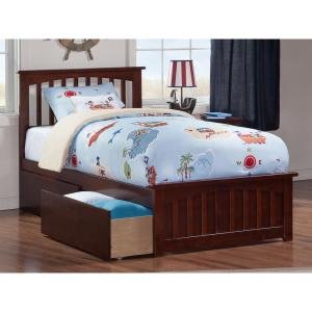 Atlantic Furniture Mission Antique Walnut Twin Platform Bed ...