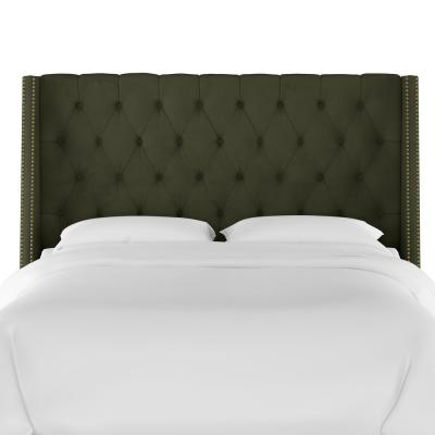 Gracee Velvet Loden Full  Tufted Wingback Headboard with Brass Nail Buttons