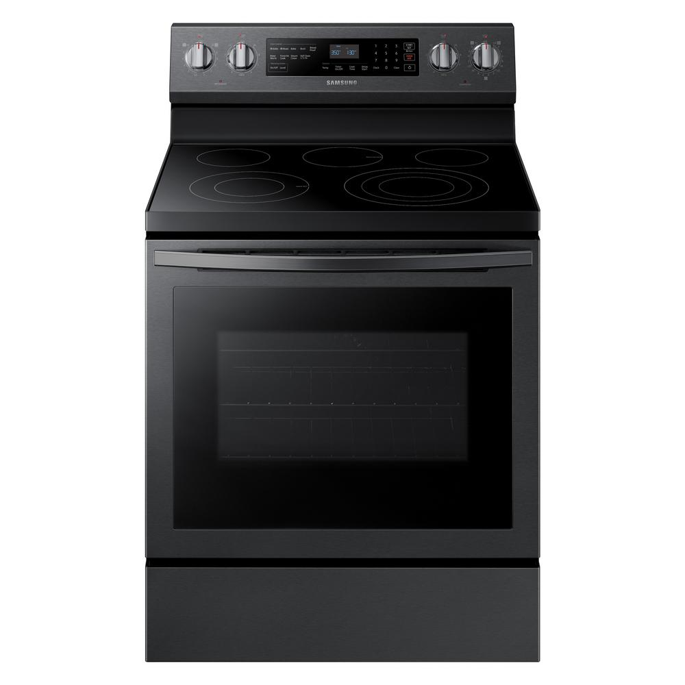 Samsung Samsung 30 in. 5.9 cu. ft. Single Oven Electric Range with Self-Cleaning in Fingerprint Resistant Black Stainless