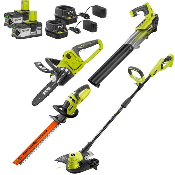 ONE+ 18-Volt Cordless String Trimmer+Edger/Blower/Hedge Trimmer/Chainsaw Combo Kit (2) 4.0Ah Batteries/Chargers Included