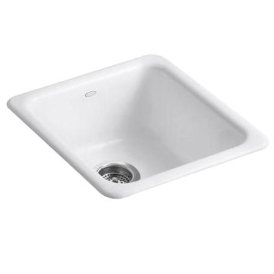Dual Mount Cast-Iron 17 in. Single Basin Kitchen Sink in White