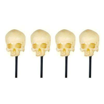 15 in. Blow Molded Skull Pathway Markers with LED Illumination (Set of 4)