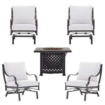 Highland Point 5 Piece Aluminum And Steel Patio Fire Pit Set With Cushions  Included,