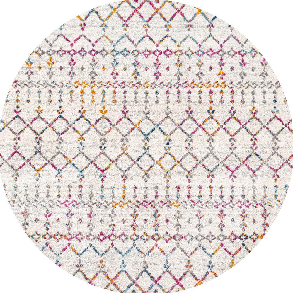 Moroccan Hype Boho Vintage Diamond Ivory/Multi 5 ft. Round Area Rug