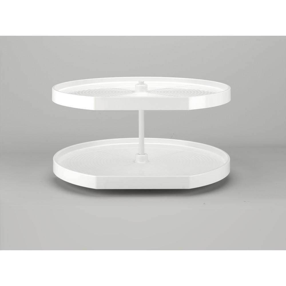 32 in White Polymer D-Shape Lazy Susans 2-Shelf