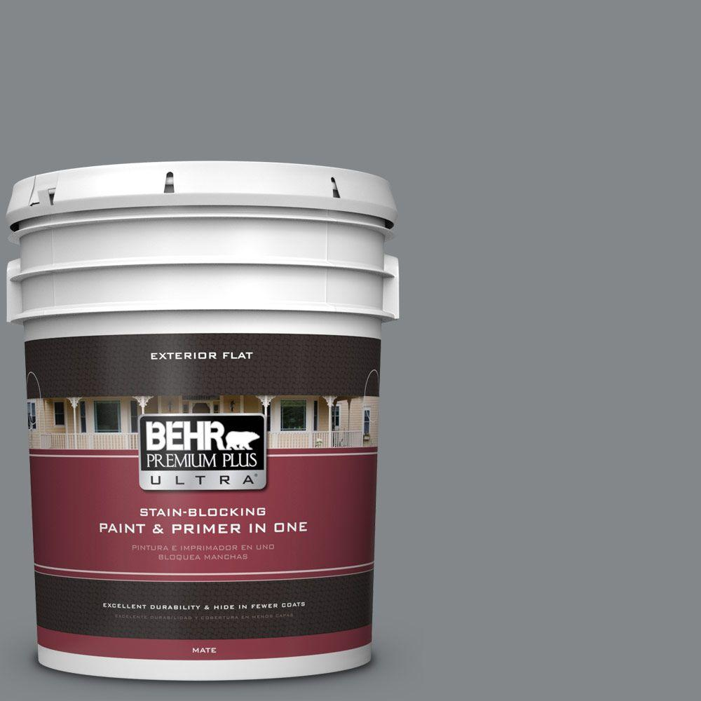 5 gal. #N500-5 Magnetic Gray Flat Exterior Paint and Primer in