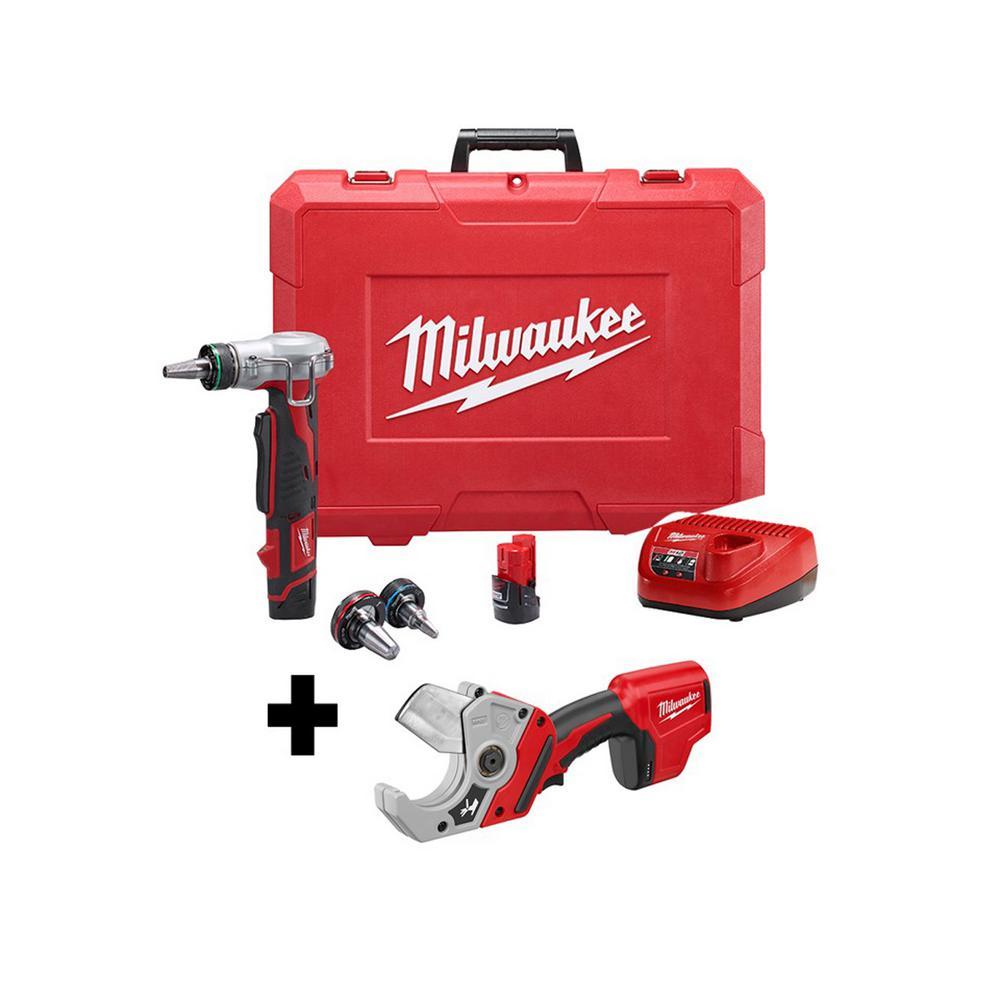 Milwaukee M12 12-Volt Lithium-Ion Cordless ProPEX Expansion Tool Kit W/ M12 PVC Pipe Shear