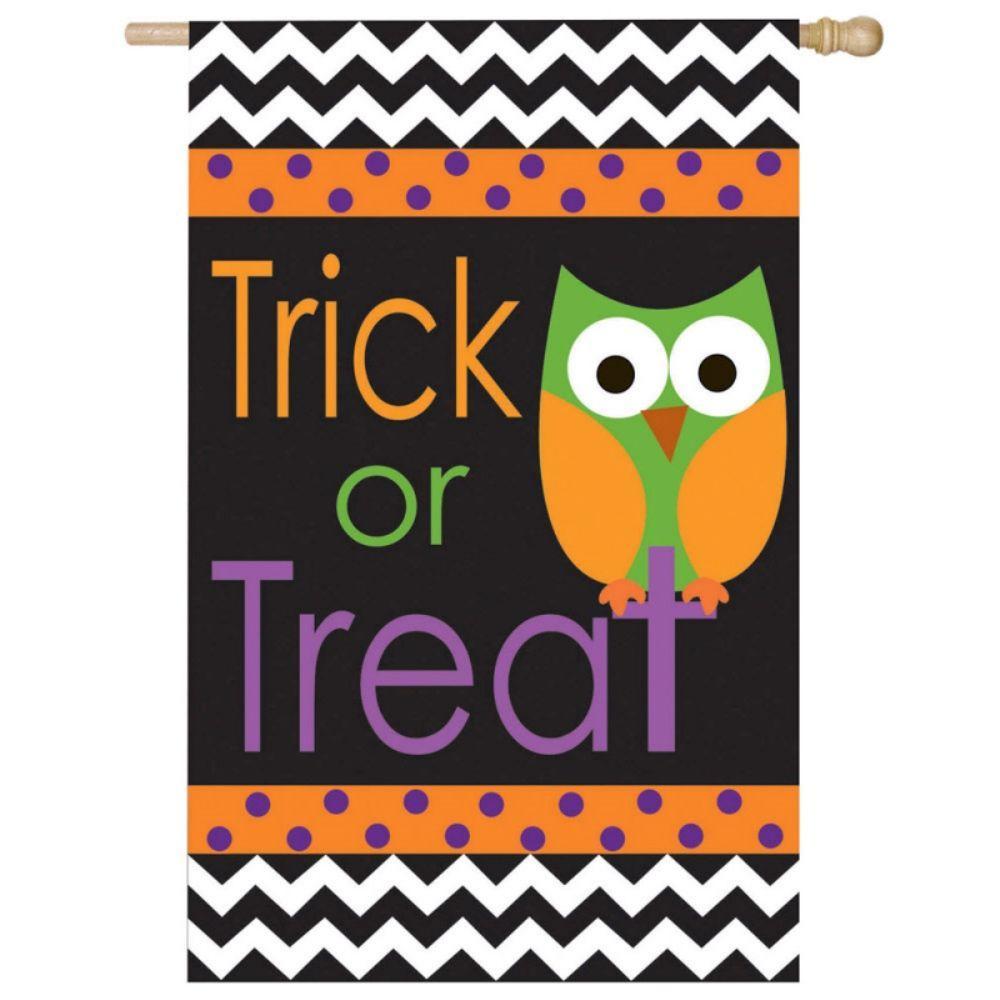 Evergreen 2 ft. x 4 ft. Regular Applique Trick or Treat Owl Flag